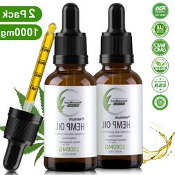 2 Pack Organic Pure Hemp Oil Drops for Pain Relief,Anxiety,S