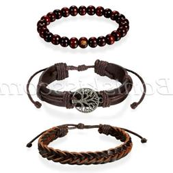 3pcs Mens Womens Ethnic Leather Hemp Cords Wood Beads Wristb