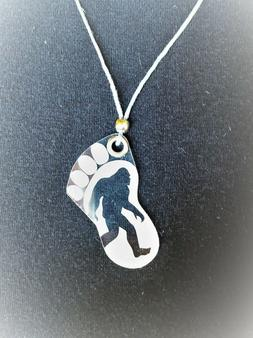 "BIGFOOT "" Believe"" Engraved Acrylic Necklace with Hemp Cord"