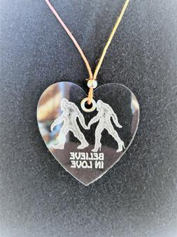 """BIGFOOT """" Believe in Love"""" Engraved Acrylic Necklace with He"""