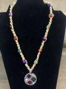 Fashion Braided Hemp Necklace w Multi Color Glass Beads And