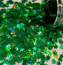 Forest Green Holographic Hemp Leaves 5mm Glitter 1oz Weed Na
