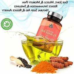 Hemp Oil Capsules with Turmeric Organic Extract for Pain Rel