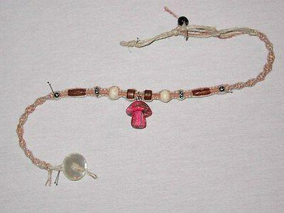 quality hemp neclace handcrafted adjustable size pink