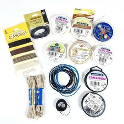 Lot of Jewelry Making Cord Leather Hemp Illusion Assorted Si
