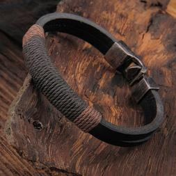 New Surfer Men's Vintage Hemp Wrap Leather Wristband Bracele