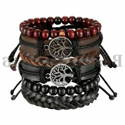 Mix 6pcs Wrap Leather Bracelets Men Women Hemp Cords Wood Be