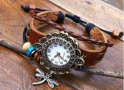 NEW Leather Hemp Hemp Quartz Watch Bracelet Wristband Vintag