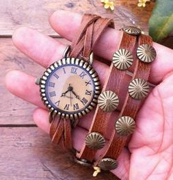 NEW Leather Hemp Wrap Quartz Watch Bracelet Wristband Vintag
