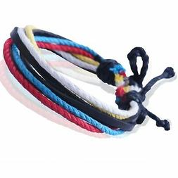 New Men's Mix Color Leather And Hemp Surfer Wristband Bracel