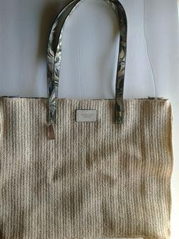 NWT Victorias Secret Woven Tropical Strap lined Tote Beach S