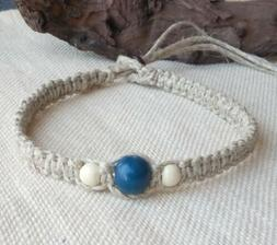 "Organic Hemp Choker Necklace Blue & White Wood Beads 1/2"" th"