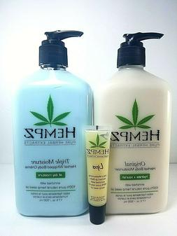 Hempz Original body lotion + Triple Moisturizer + lip balm g