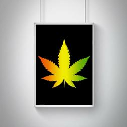 Rasta Cannabis Marijuana Weed Inspiration Home Wall Art 24""