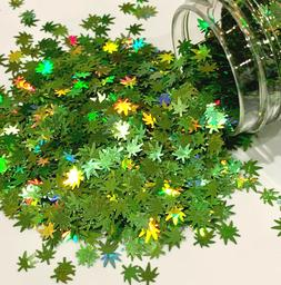 Spring Green Holographic Hemp Leaves 5mm Glitter 1oz Weed Na