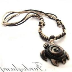 Surf Hemp Replica Bone Turtle Pendant Choker Necklace