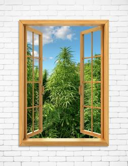 Window View Cannabis Field Marijuana Weed Wall Art Decor 24""